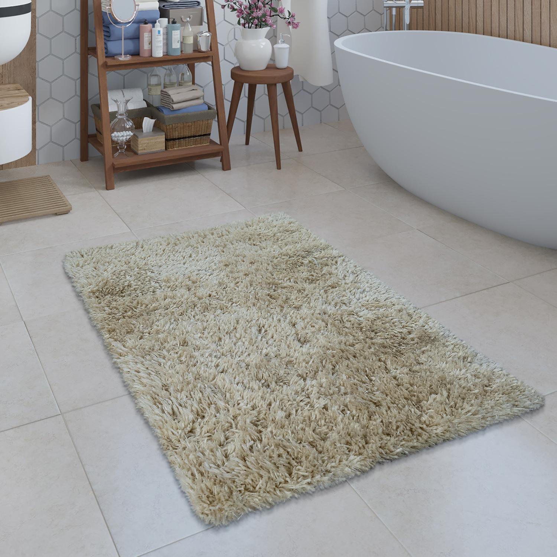 Modern Bath Mat Bathroom Rug Shaggy Snug And Soft Monochrome Beige Ebay
