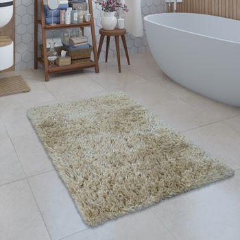 Moderne Badematte Badezimmer Teppich Shaggy Kuschelig Weich Einfarbig Beige – Bild 1
