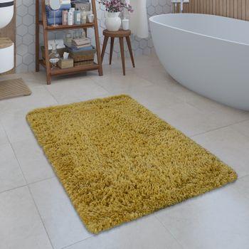 Modern Bath Mat Bathroom Rug Shaggy Snug and Soft Monochrome Yellow – Bild 1