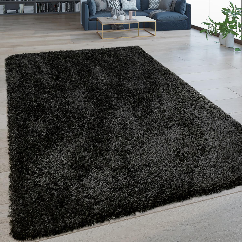 Hoogpolig tapijt wasbaar effen zwart
