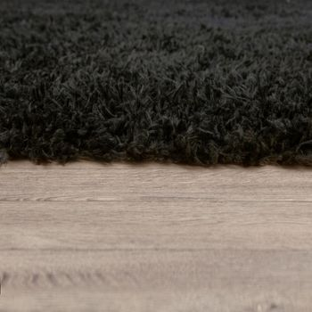 Hochflor Wohnzimmer Teppich Waschbar Shaggy Flokati Optik Einfarbig In Schwarz – Bild 2