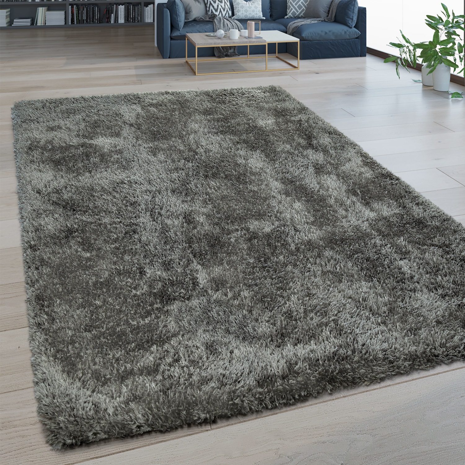 Deep Pile Living Room Rug Washable Shaggy Flokati Look One Colour In Grey