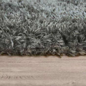 Hochflor Wohnzimmer Teppich Waschbar Shaggy Flokati Optik Einfarbig In Grau – Bild 2