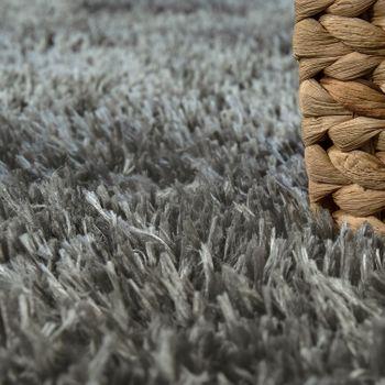 Hochflor Wohnzimmer Teppich Waschbar Shaggy Flokati Optik Einfarbig In Grau – Bild 3