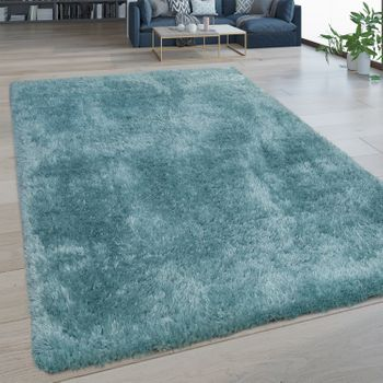 Deep Pile Rug Washable One Colour Turquoise