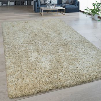Deep Pile Rug Washable One Colour Beige