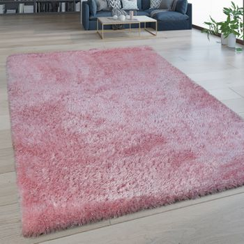 Deep Pile Rug Washable One Colour Pink