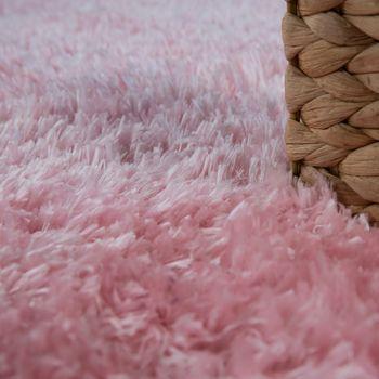 Hoogpolig Vloerkleed Woonkamer Wasbaar Shaggy Flokati-Look Effen In Pink – Bild 3