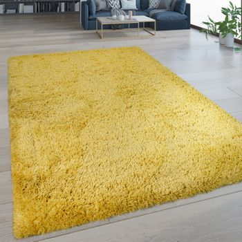Deep Pile Rug Washable One Colour Yellow