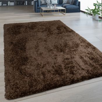 Deep Pile Rug Washable One Colour Brown