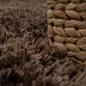 Hochflor Wohnzimmer Teppich Waschbar Shaggy Flokati Optik Einfarbig In Braun – Bild 3
