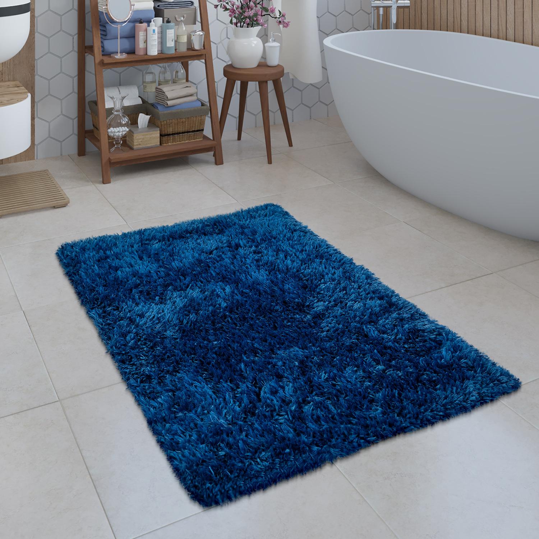 Modern Bath Mat Bathroom Rug Shaggy Snug and Soft One Colour Blue