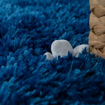 Modern Bath Mat Bathroom Rug Shaggy Snug and Soft One Colour Blue – Bild 3