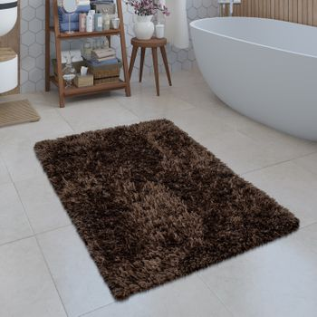 Modern Bath Mat Bathroom Rug Shaggy Snug and Soft Monochrome  Brown – Bild 1