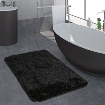 Modern Deep Pile Bathroom Rug One Colour Bathmat Non-Slip In Black – Bild 1