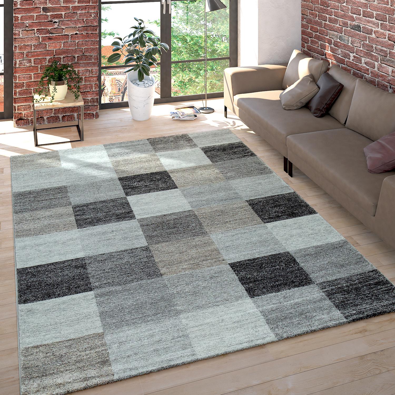 kurzflor teppich meliert kariert grau beige teppichcenter24. Black Bedroom Furniture Sets. Home Design Ideas