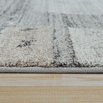 Wohnzimmer Teppich Kurzflor Meliert Mehrfarbiges Design Kariert in Grau Beige – Bild 2