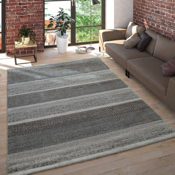 Short Pile Rug Mottled Striped Grey Beige