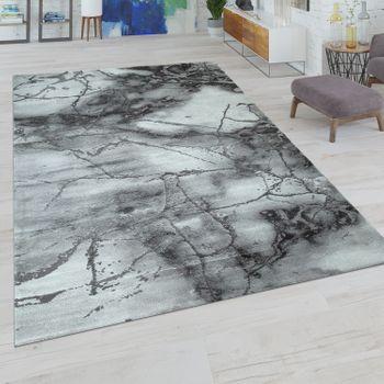 Kurzflor Teppich Abstrakes Muster Grau Weiß