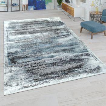 Kurzflor Wohnzimmer Teppich Modern Used-Look Abstraktes Muster In Grau-Blau – Bild 1