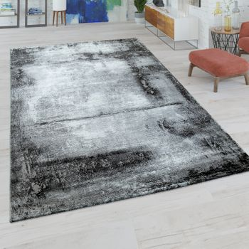 Short Pile Rug Marble Pattern Grey White