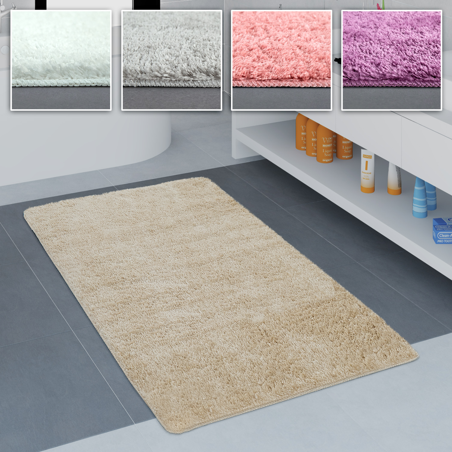 Bathroom Rug One-Colour Soft Cosy In Various Sizes And Colours