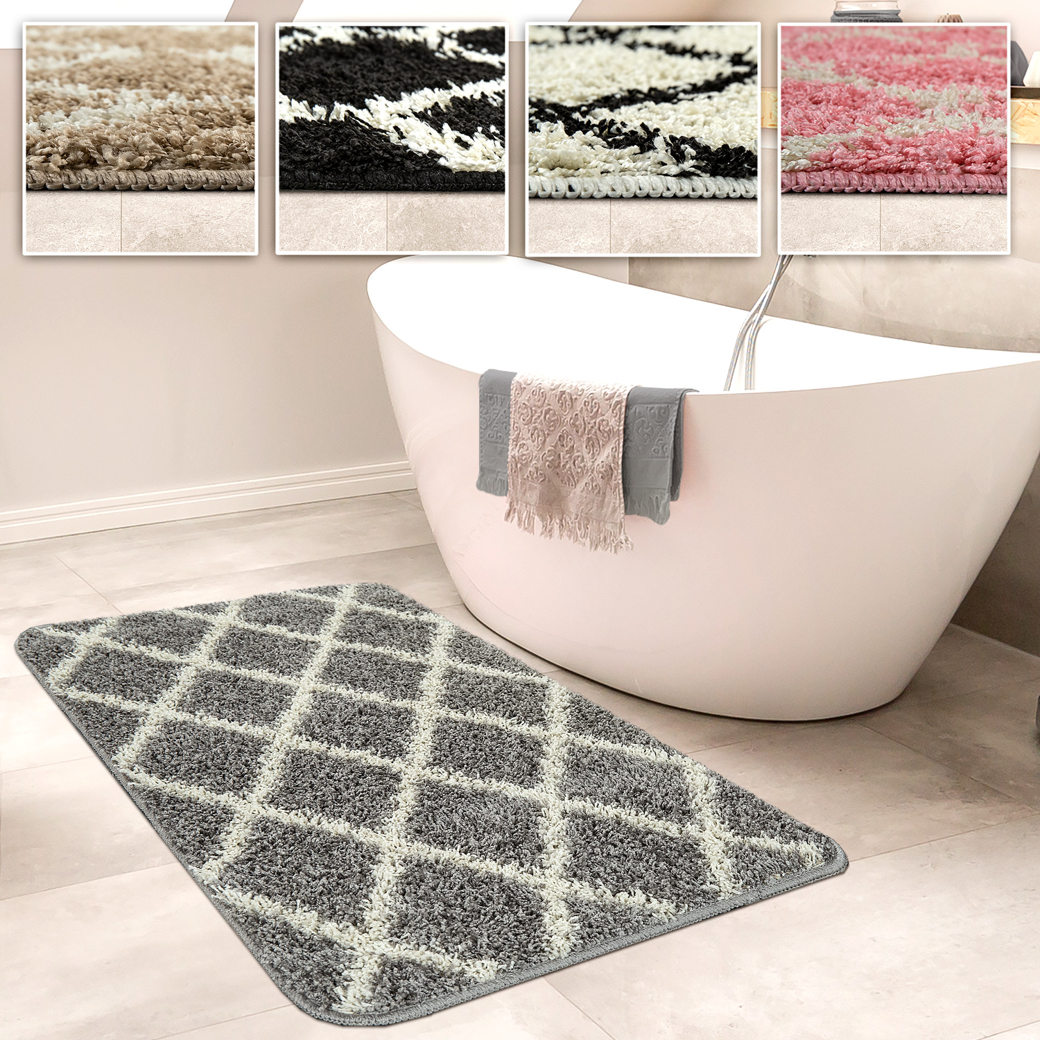 Bathmat With Diamond Design Deep-Pile Bathroom Mat In Various Sizes And Colours