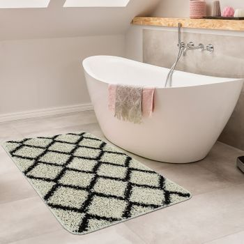 Bathmat With Diamond Design Deep-Pile Bathroom Mat In Various Sizes And Colours – Bild 8