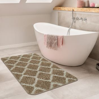 Bathmat With Diamond Design Deep-Pile Bathroom Mat In Various Sizes And Colours – Bild 2