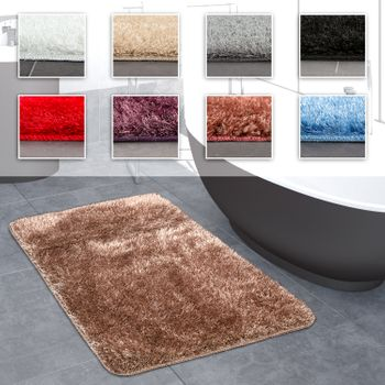 Deep-Pile Bathroom Rug One-Colour Non-Slip In Various Sizes And Colours – Bild 1