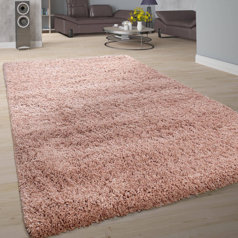 Teppich Rosa Flauschig.Hochflor Teppich Shaggy Einfarbig Rosa