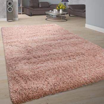 Teppich Wohnzimmer Soft Shaggy Hochflor Modern Flauschig Einfarbig In Rosa – Bild 1