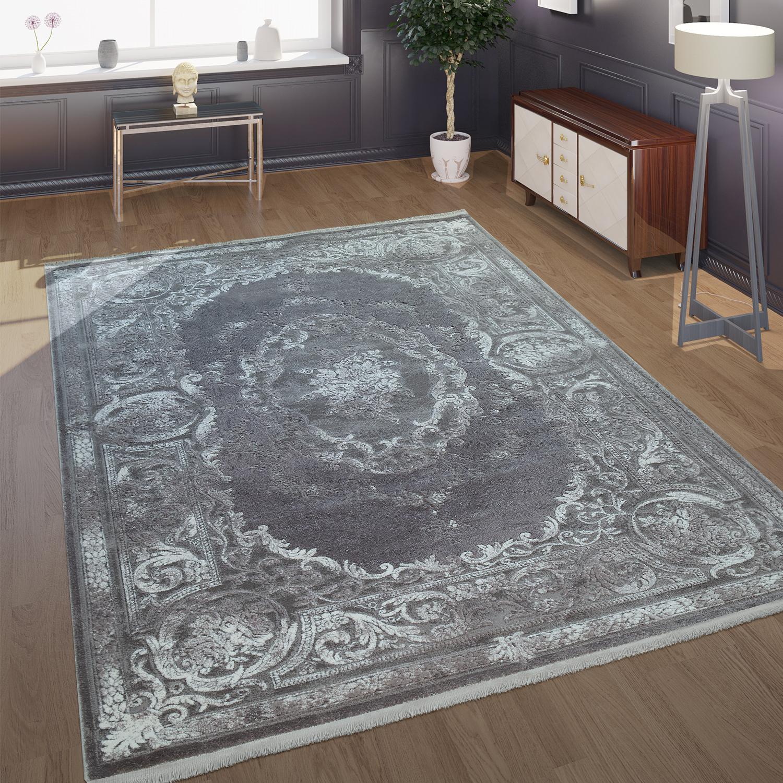 Teppich Wohnzimmer Polyacryl  Kurzflor Vintage Barock Klassische Ornamente Grau