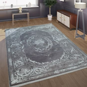Rug Living Room Polyacrylic Short Pile Vintage Baroque Classic Ornaments Grey – Bild 1