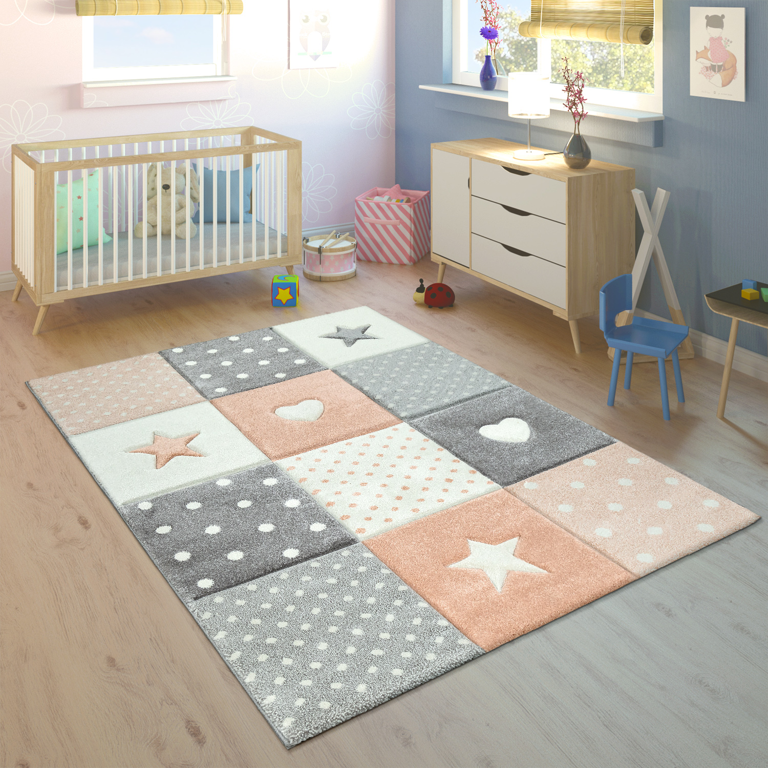 Children's Rug Children's Room Checked Dots Hearts Stars in Pastel Apricot Grey