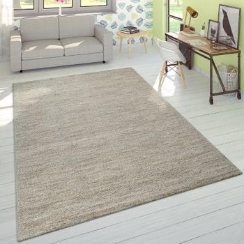 Short Pile Rug One Colour Cream Living Room