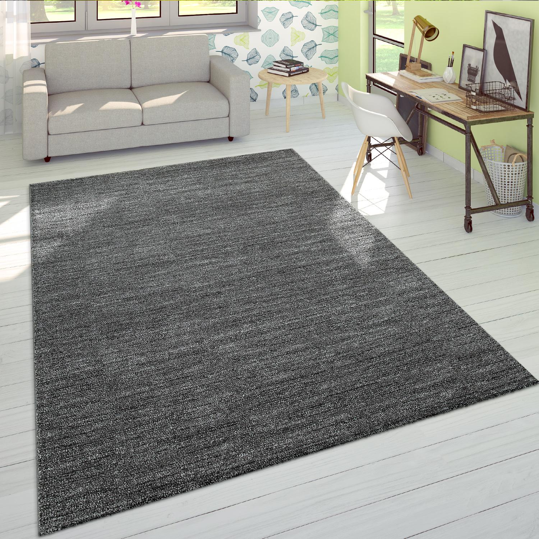 Kurzflor teppich einfarbig anthrazit wohnzimmer for Teppich wohnzimmer modern