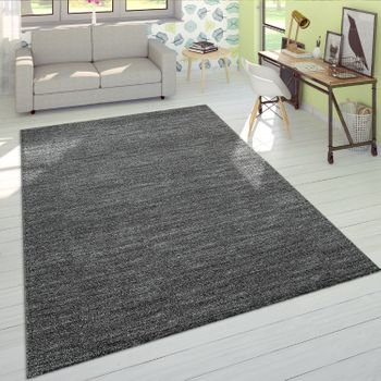 Short-Pile Rug One Colour Anthracite Living Room