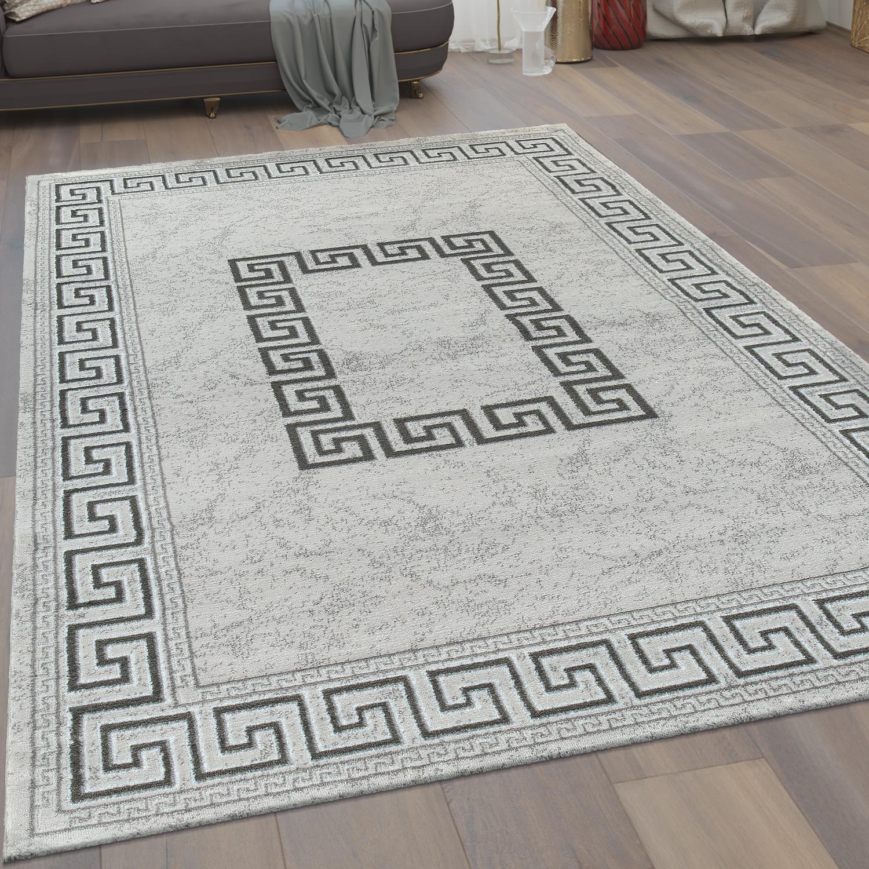 kurzflor teppich m ander muster grau teppichcenter24. Black Bedroom Furniture Sets. Home Design Ideas