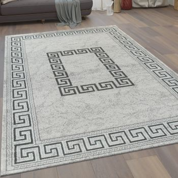 Modern Short Pile Living Room Rug Meander Pattern Borders in Grey Black – Bild 1