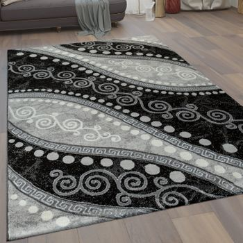 Modern Short Pile Living Room Rug Waves Ornaments Dots in Black Grey – Bild 1