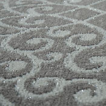Wohnzimmer-Teppich, Kurzflor Mit Orientalischen Muster, Bordüre In Grau Weiß – Bild 3
