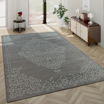 Modern Short Pile Living Room Rug Oriental Pattern Border in Grey White – Bild 1