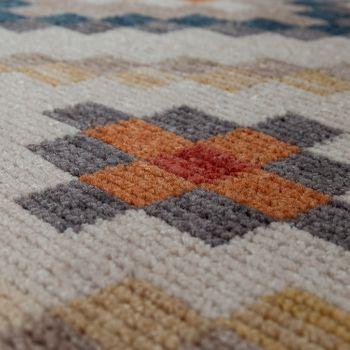Tassels Rug Living Room Ethnic Design Boho Diamond Pattern Multicoloured Cream – Bild 3