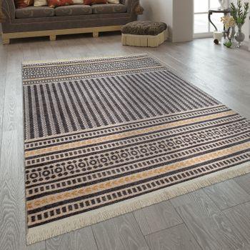 Fransen Teppich Wohnzimmer Ethno Design Boho Streifen Muster In Grau Gelb – Bild 1