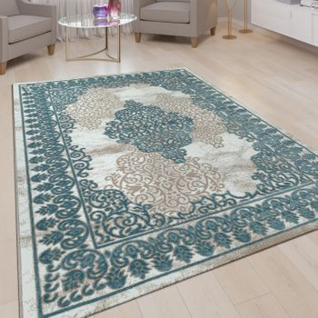 Short-Pile Rug Border Ornaments Light Blue