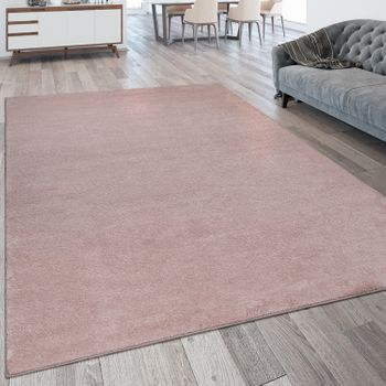 Short-Pile Rug Washable One Colour Pink