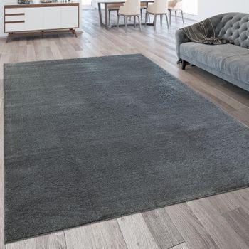 Kurzflor Wohnzimmer Teppich Waschbar Strapazierfähig Einfarbig Meliert Anthrazit – Bild 1