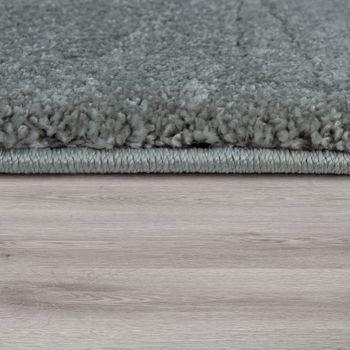 Tappeto Pelo Corto Soggiorno Lavabile Resistente Monocolore Mélange In Argento – Bild 2
