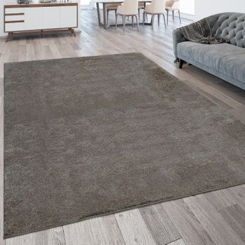 Short Pile Rug Washable One Colour Taupe